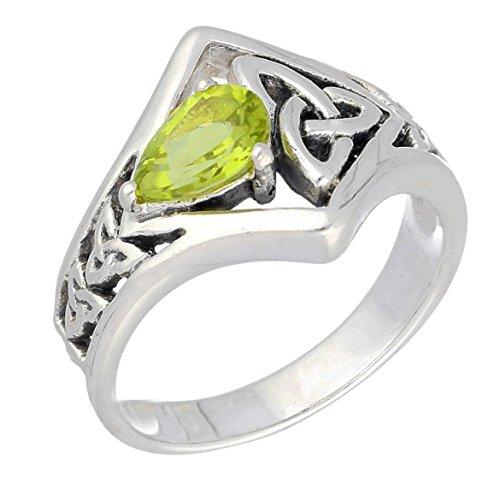 Celtic Knot Green Teardrop Genuine Peridot Sterling Silver Ring Size 6(Sizes 5,6,7,8,9,10,11,12)