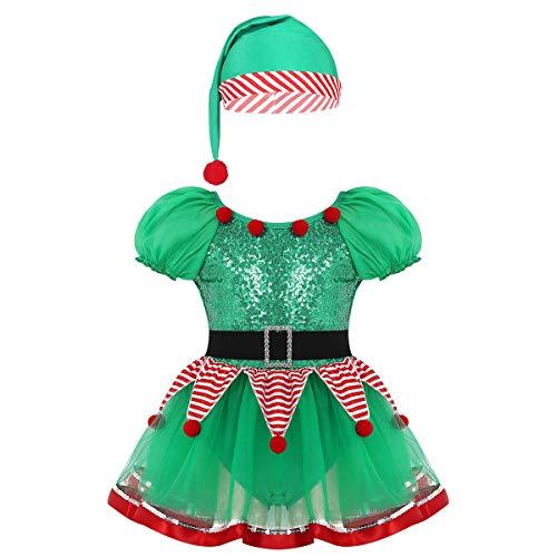 YiZYiF Costume da Elfo Natalizio Bambina Cosplay Santa's Little Helper Ragazza 2 Pezzi Vestito della Santa del Partito con Cappello Costume Carnevale Albero di Natale Verde 11-12 Anni