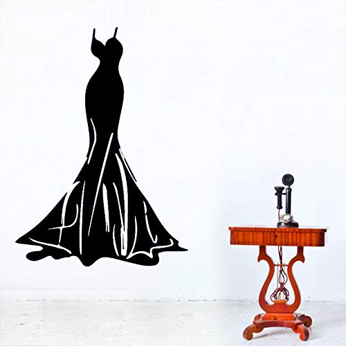 Ajcwhml Wunderschöne Abendkleid wandaufkleber dekorative Aufkleber Dekoration kinderzimmer Wohnzimmer Dekoration wandtattoos Dekoration schwarz 58cm x 80cm