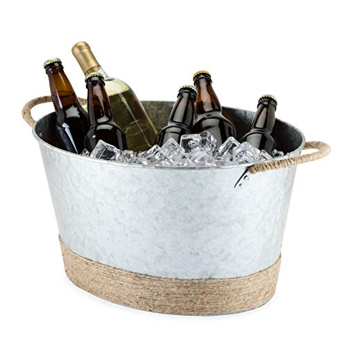 Twine Jute Rope Wrapped Farmhouse Galvanized Ice Metal Tub, Wine, Beer Bottle Bucket, 4.5 Gallons, One Size