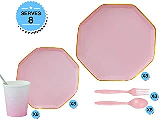 SERVES 8 - Birthday, Baby Shower Bachelorette Party Tableware Set of 8 pcs Dinner plates, 8 pcs Dessert plates, 8 pcs cups...