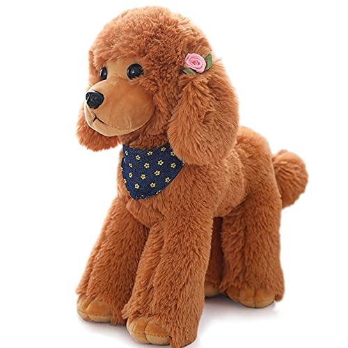 Heionia Peluche de perro con bufanda Kawaii Caniche de peluche para perros, regalo para niños y niñas, 20 cm (marrón)