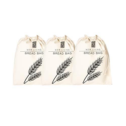 Premium 3er Pack Brotbeutel   29 x 39 cm   Öko-Leinen-Baumwolle   kein Kunststoff   New Living   Lebensmittelaufbewahrungsbeutel