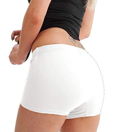 Damen Mädchen Mikrofaser Hotpants Schlüpfer Lycra Tanz Shorts Fitnessstudio Sexy Neon - Weiß, Small / Medium