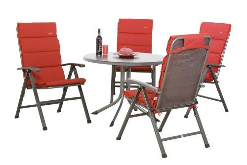 MWH Set Ralo bestehend aus Dessin Dubai Gartentisch eisengrau/grau, 4 Klappsessel Ralo eisengrau, 4 Auflage für Sessel