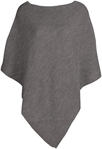 styleBREAKER Damen Feinstrick Poncho einfarbig, Ärmellos, Rundhals, Cape, Überwurf, Strickponcho, Einheitsgröße 08010078, Farbe:Grau