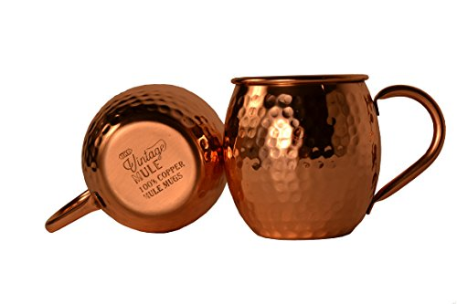 Solid Copper Moscow Mule Mugs Set of 2 - The Vintage Mule   Perfect for Kentucky or Moscow Mules - 16 ounces, No Lining, Original Hammered Finish, 100% Pure Copper, Premium Copper Handle