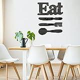 Eat Sign 3D Acrylic Mirror Wall Decor Sticker Fork Knife and Spoon Wall Decor Eat Acrylic Decorative Mirror Wall Decal Sticker 3D Mirror Wall Decal Removable DIY Decal Sticker (Black)