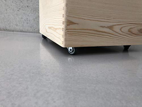 Holz Spielzeugkiste Blanco – Rollen Triangel skandinavisch mit Deckel - 4
