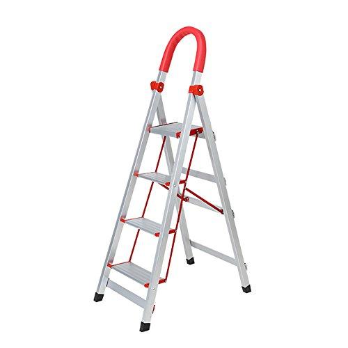 RKY Folding Extension Ladder - Scaletta per scaletta pieghevole Homewares per adulti Pieghevole in alluminio 3 4 5 Scaletta scorrevole con tappetino antiscivolo e serrature di sicurezza Sgabelli   -