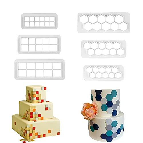 6 cortadores de galletas para tartas, fondant, cortadores geométricos de galletas para cumpleaños, decoración de magdalenas, cortadores de galletas cuadrados y hexagonales