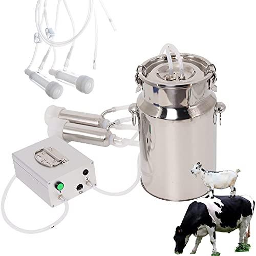 SKYWPOJU Máquina de ordeño eléctrica de vacío de pulsación de Vaca, Extractor de Leche de Pulso portátil automático con 2 Tazas de tetina Cubo de Acero Inoxidable para Vaca