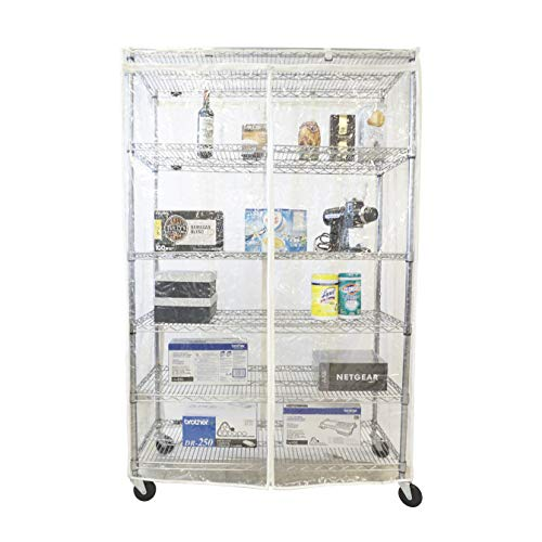 Storage Shelving Unit Cover All See Through PVC, fits Racks 60' Wx24 Dx72 H All Clear PVC (Cover only)
