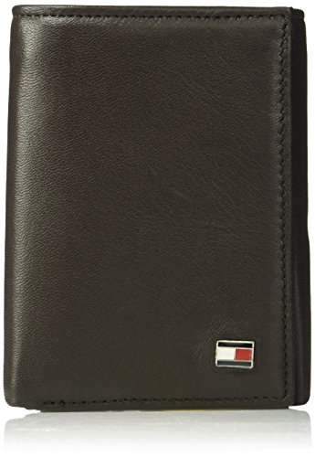 Tommy Hilfiger Men's Trifold Wallet-Sleek and Slim Includes ID Window and Credit Card Holder, Oxford brown, One Size