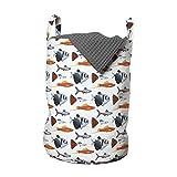 ABAKUHAUS Acuario Bolsa de lavandería, Peces de agua dulce Especies, Cesta con asas Cierre de cordón para las lavanderías, 33 x 33 x 49 cm, Blanco y multicolor