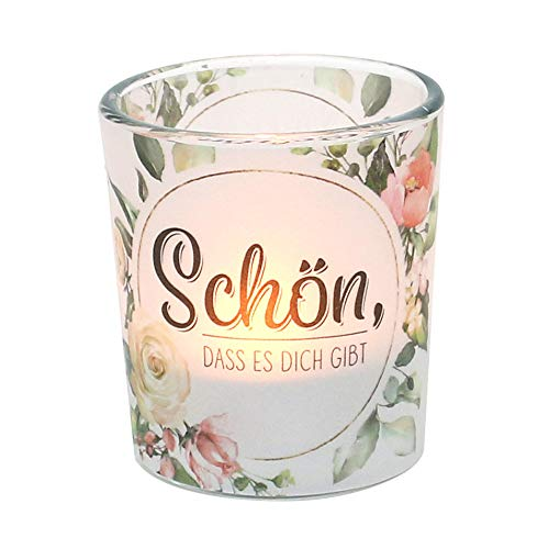 Dekohelden24 Windlichtglas mit Motiv auf Einer transparenten Banderole, inkl. 1 Teelicht, H/Ø: 6,5 x 6 cm, Motiv: Schön, DASS es Dich gibt.