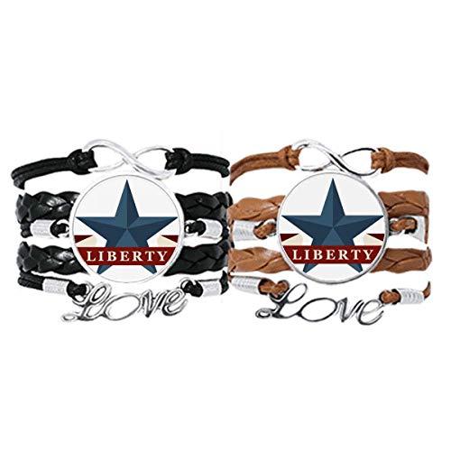 DIYthinker Pentagram Liberty Slogan America Country City - Pulsera de mano con correa de piel y cuerda de cuerda, doble juego de regalo