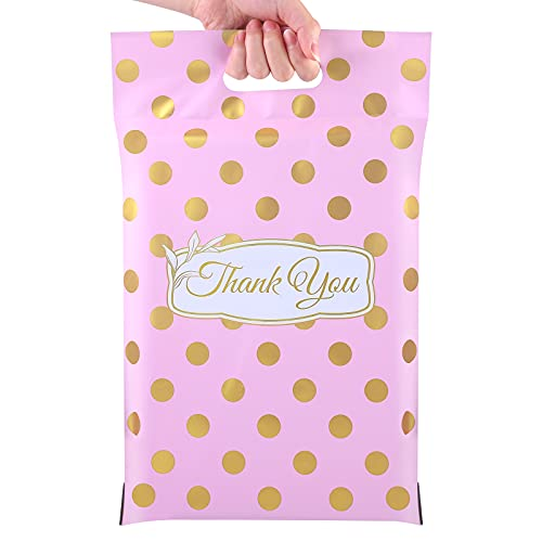 URATOT 10 x 13 Inch 100 Pack Poly Mailers Thank You Shipping Envelopes Bags Thick Mailers Packaging Bags with Handle Self Adhesive Poly Mailing Envelopes for Clothing, Boutique (Pink)