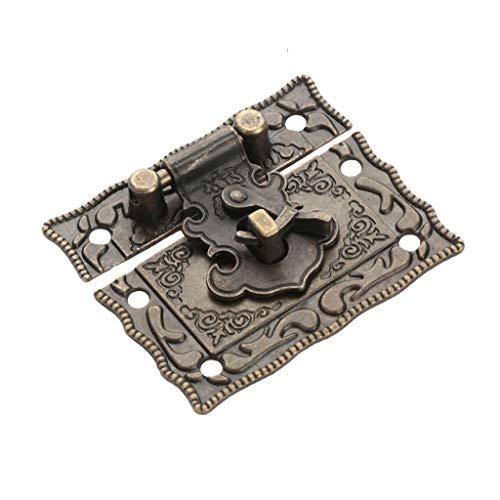 YUTRD ZCJUX Antiguo Bronce Candlock Lock Jewelry Caja de Madera Perspectivo Pasto Pasp + 2pcs Maleta Maleta Bisagra Vintage Muebles Hardware Decorativo