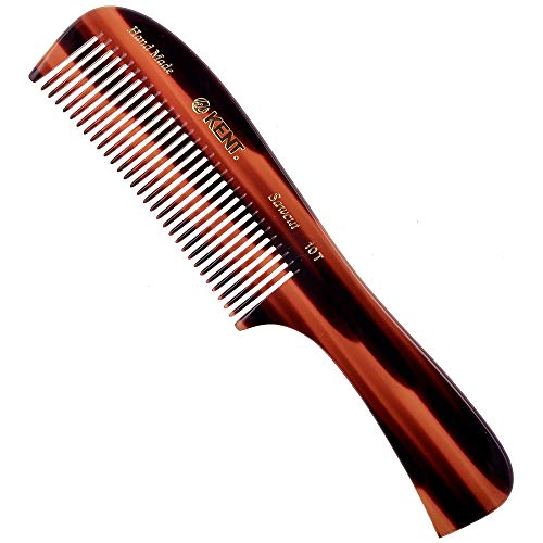 "Kent 10T (8"") Handmade Large Handle Wide Tooth Rake Comb - Saw Cut for Wet, Thick, or Course Hair, for Men and Women, Every Day Detangling"