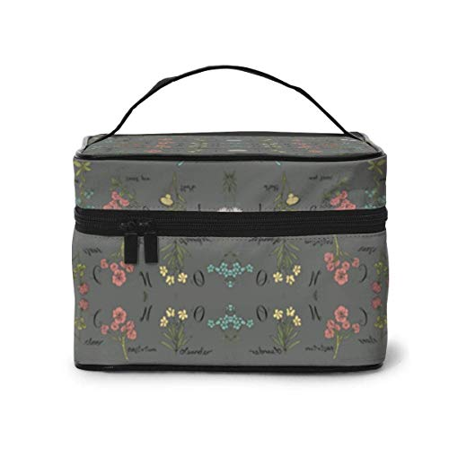 Make-up Taschen Etuis,Kosmetiktaschen ABC Wildflowers Botanical Floral Pewter Fabric (680) Pattern Portable Travel Makeup Cosmetic Bags Organizer Makeup Boxes
