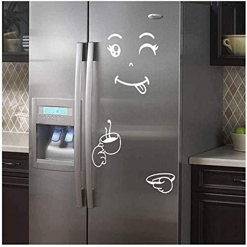 Cute Sticker Fridge Happy Delicious Face Sonriente Cocina Frigorífico Pegatinas de Pared Arte (Blanco) Improve