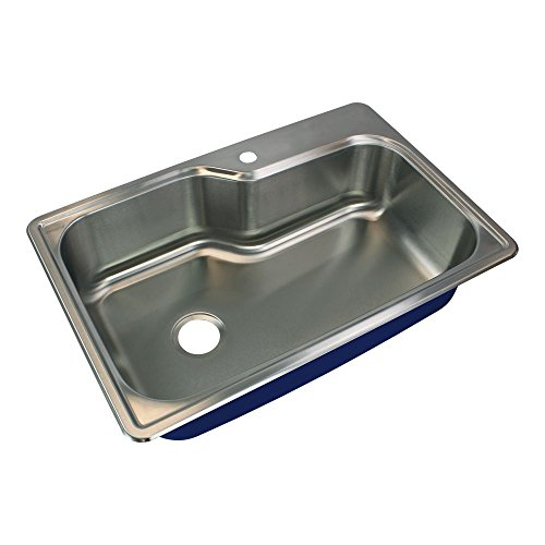 """Transolid MTSO33229-1 Meridian 1-Hole Drop-In Single Bowl Kitchen Sink, 22 1/64""""L x 33""""W x 9""""H, Brushed Stainless Steel"""