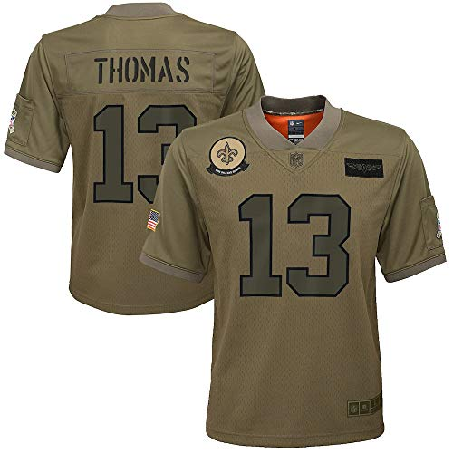 Nike Michael Thomas New Orleans Saints NFL Boys Youth 8-20 Camo Green Salute to Service On-Field Game Day Jersey (Youth Small 8)