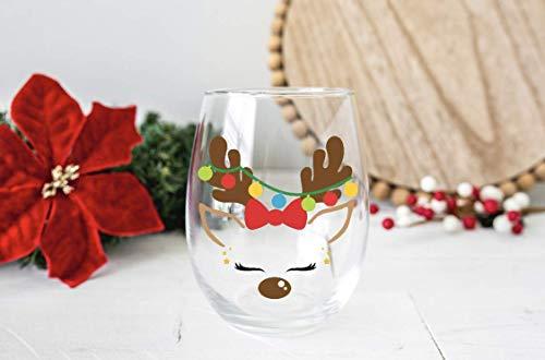 Reindeer Stemless Wine Glass