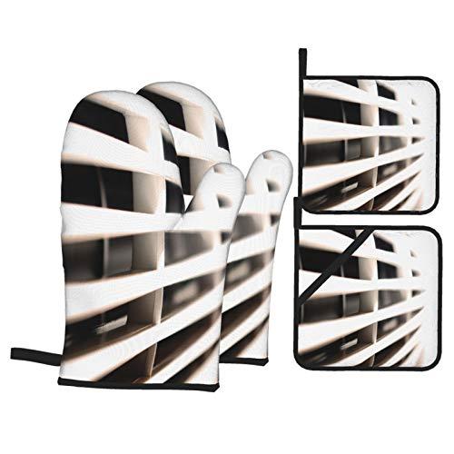 Juegos de Manoplas y Porta ollas para Horno,Ventilador de Aire Acondicionado Guantes de Cocina Resistentes al Calor para Hornear en la Cocina, Parrilla, Barbacoa,BBQ