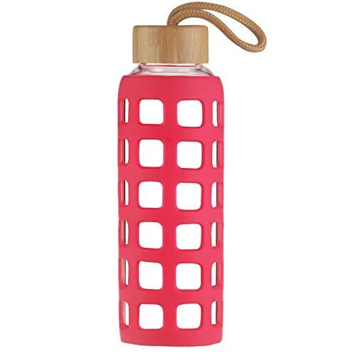 Cleesmil Sport Trinkflasche Glas Wasserflasche mit Silikonhülle mit Bambus Deckel 360 ml (Magenta)