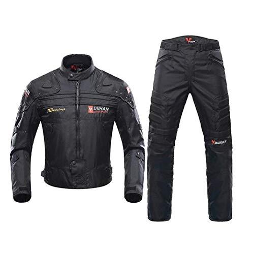 ANTLEP Herren Motorradkombi Jacke + Hose (2 Stück) 600D Neil Polyestergewebe Atmungsaktiver Komfort Abnehmbares warmes Baumwollfutter für alle Wetter,Radsport, Motorrad,Black,XXL