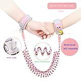 Arnés para niños pequeños Correa para caminar-Anti Perdió el brazalete-Pulsera anti-niño-Cinturón de seguridad anti-pérdida para niños-Cuerda de tracción para bebés (8.2FT, Pink)