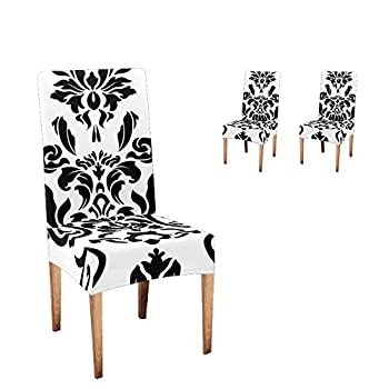 CUXWEOT Chair Covers for Dining Room Black and White Damask Seat Covers Slipcovers for Party Decor  Set of 2