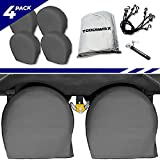 RV Tire Covers Set of 4 - Use on Motorhome Wheels Travel & Utility Trailer Storage Great for Pop Up Camper Boats Cars Must Have Camping Accessories Strong Bungees & Bonus Tire Pressure Gauge Included