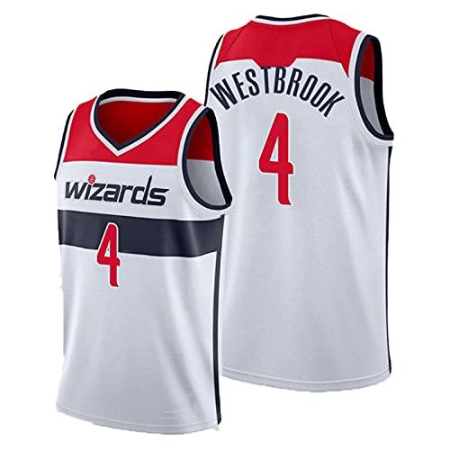 CYQQ Washington Wizards #4 Russell Westbrook Camiseta de Baloncesto para Hombre, edición de Ciudad, Secado rápido, Ropa sin Mangas para Entrenamiento de Baloncesto, Camiseta de Fan(Size:XL,Color:A2)