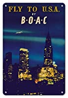 Fac To U.S.A. by Boac メタルポスタレトロなポスタ安全標識壁パネル ティンサイン注意看板壁掛けプレート警告サイン絵図ショップ食料品ショッピングモールパーキングバークラブカフェレストラントイレ公共の場ギフト
