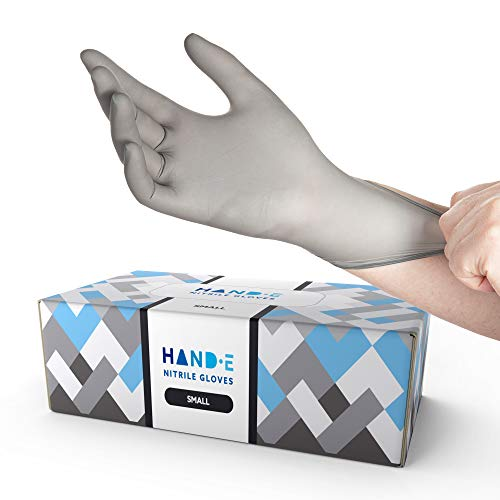 Hand-E Disposable Grey Nitrile Gloves Small -200 Count, Powder Free, Latex Free