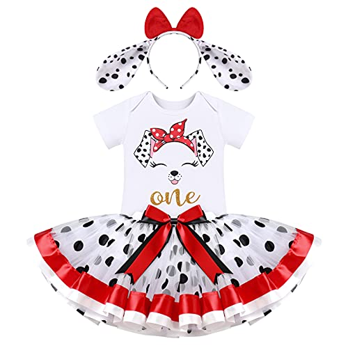Costume da Dalmata, body in cotone + gonna tutù a pois + fascia 3 pezzi per festa, Bianco-cane, 12 mesi