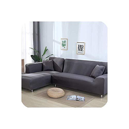 HCIUUI Funda de sofá elástica en Forma de L para salón, Chaise Longue, Funda de sofá seccional, Funda de sofá esquinera, 2 Piezas, Color Blanco, 1 Plaza y 4 plazas, Gris, 2seaterand3seater
