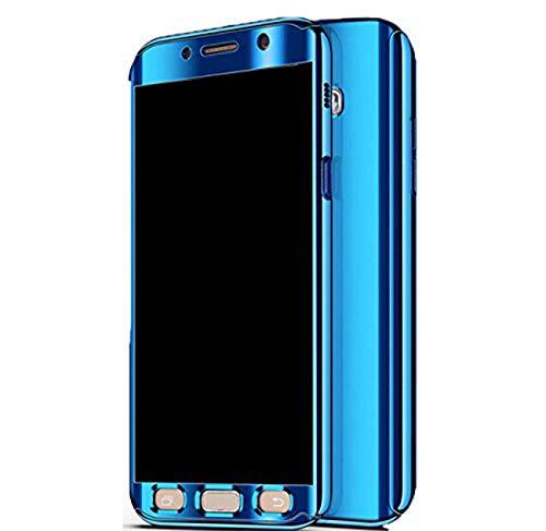Qissy Hülle für Galaxy A5 (2017) /Galaxy A7 (2017), Ultra Thin 3 in 1 Handytasche Hart Spiegel Schutzhülle für Galaxy A5 (2017) /Galaxy A7 (2017) Cover (Blau, Samsung Galaxy A5 (2017))