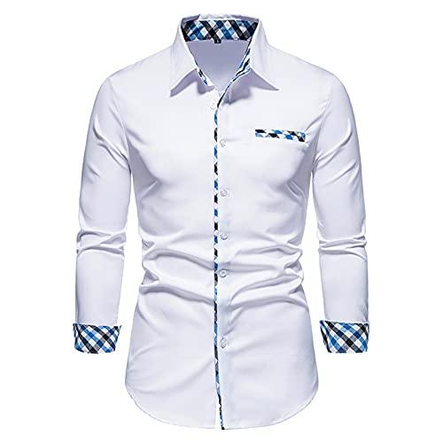 SSBZYES Camisas para Hombres Camisas De Manga Larga para Hombres Camisas De Color Slido Camisas Informales De Contraste para Hombres Camisas Formales Entalladas