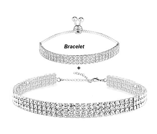 EFTOM Eoumy 3 Rows Adjustable White Rhinestone Choker Necklace for Women with Bracelet