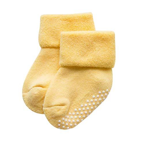FENICAL Meias para bebês meninos e meninas outono e inverno recém-nascidos, de algodão para recém-nascidos, boca solta, felpuda, para crianças de 1 a 3 anos (amarelo)