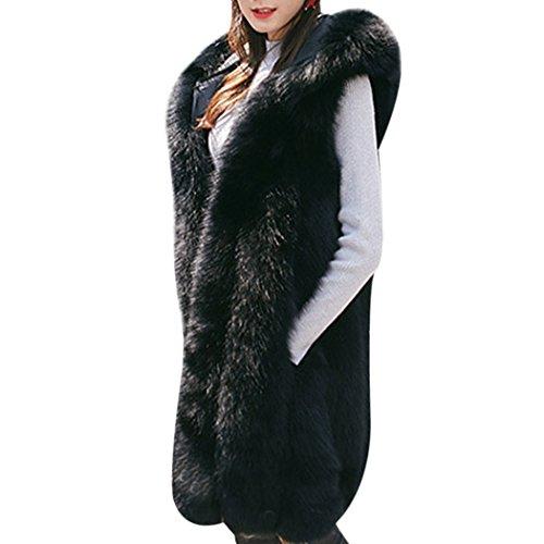 mioim Damen Faux Pelz Weste Ärmellose Lange Jacke Vest Kunstpelz mit Kapuzen Winter Herbst Pelzmantel Fellweste Mäntel Schwarz XXXL