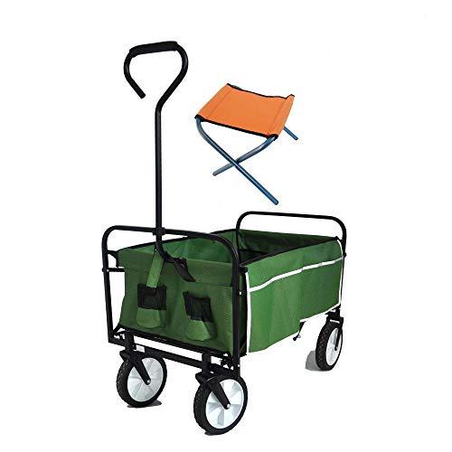 Folding Wagon, Garden CartHeavy Duty Collapsible Folding All Terrain Utility Beach Garden Shopping, Utility Cart Collapsible (Green)