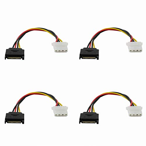 ZRM&E 4PCS SATA 15-Pin Power Adapter Line IDE 4P Female to SATA 15 Pin Male Power Extension Cable IDE to SATA Connector