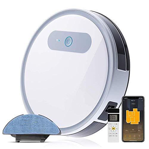 Robot Vacuum Cleaner Mop, WIFI & Alexa Auto Robotic Vacuums Cleaner, Anti-Stuck Free Move Technology, Self-Charging, Super Quiet & Slim, 2000Pa, for Pet Hair, Hard Floor and Carpets LATT LIV