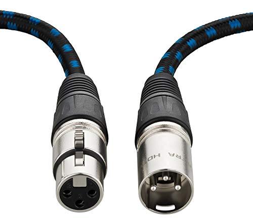 Ultra HDTV Premium XLR Lautsprecherkabel - 2 Meter HiFi Audio Kabel mit XLR Stecker auf XLR Buchse, Metall-Stecker mit Einrast-Mechanik, Zugentlastung, Zinklegierung und Knickschutz Nylon-Mantel
