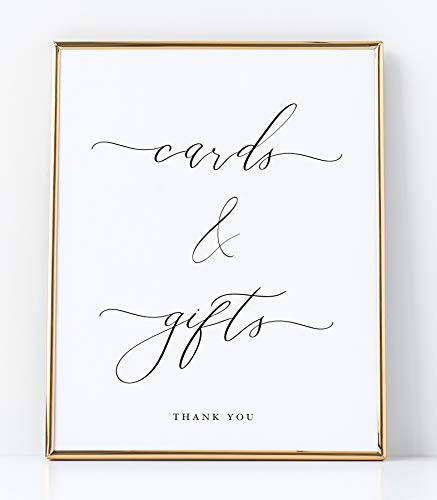 Cards and Gifts Sign for Wedding Ceremony and Reception White Sign with Black Lettering Printed on Professional Thick Linen Cardstock White Wedding Decoration UNFRAMED Elegant Minimalist Style